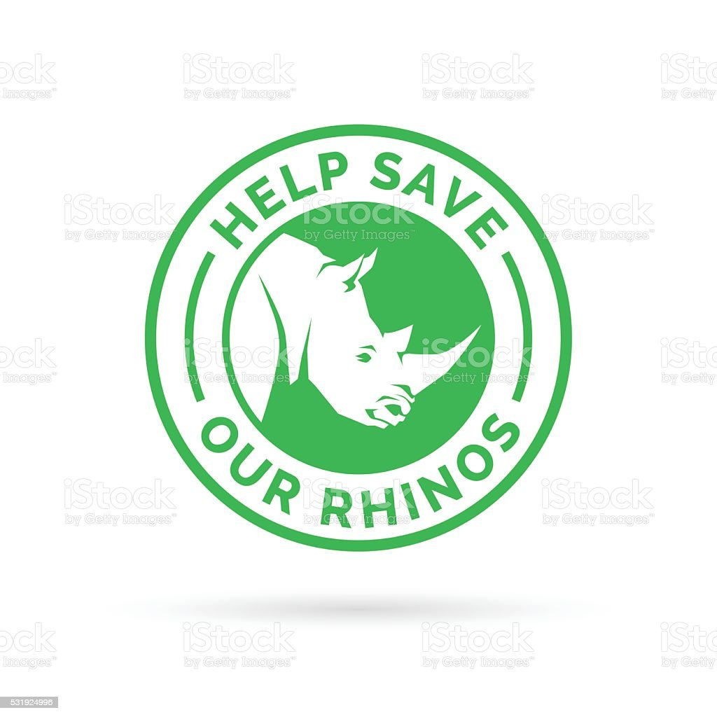 Help save our Rhinos from illegal hunting icon badge vector art illustration