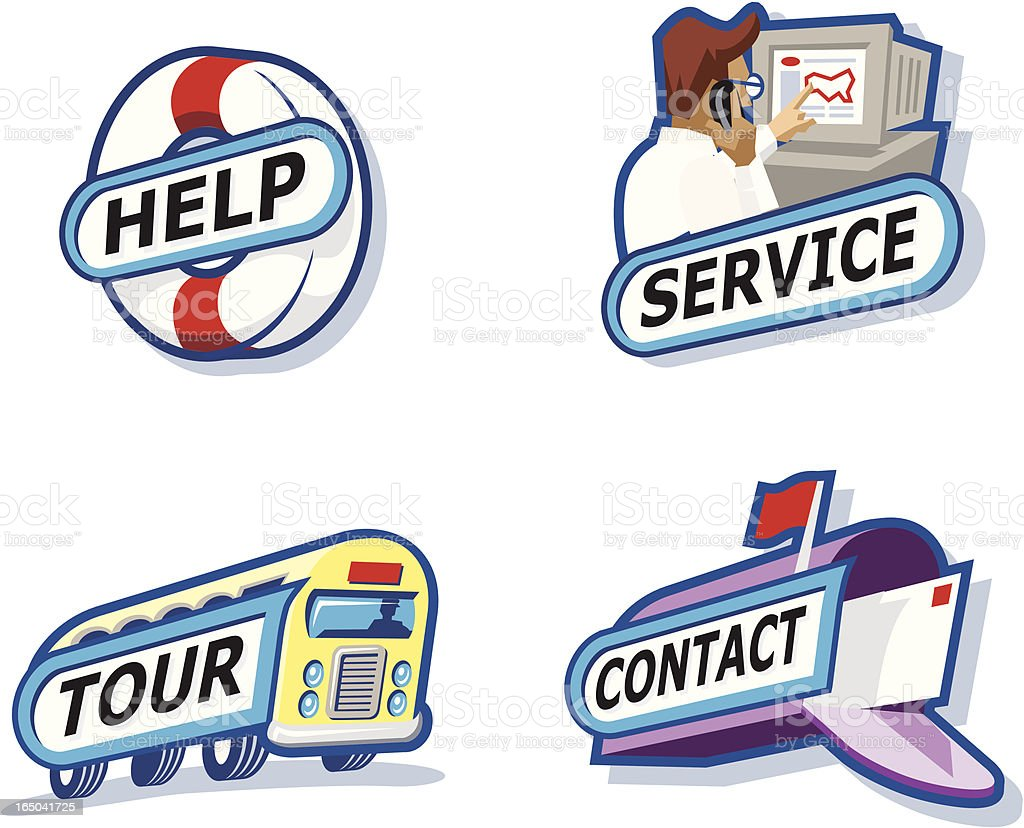 Help, Service, Tour, Contact royalty-free stock vector art