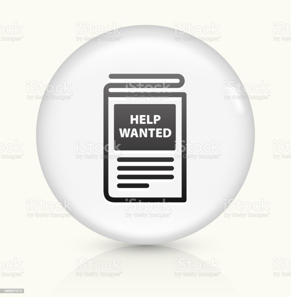 Help Wanted Paper icon on white round vector button vector art illustration