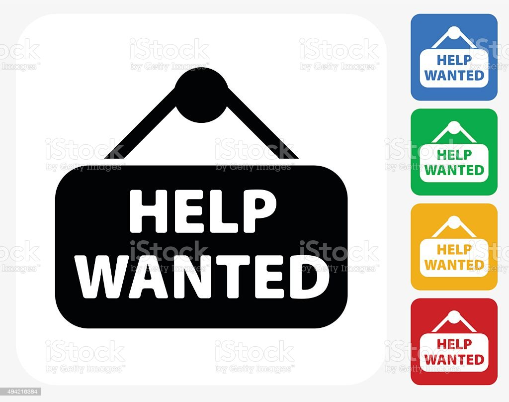 Help Wanted Sign Icon Flat Graphic Design vector art illustration