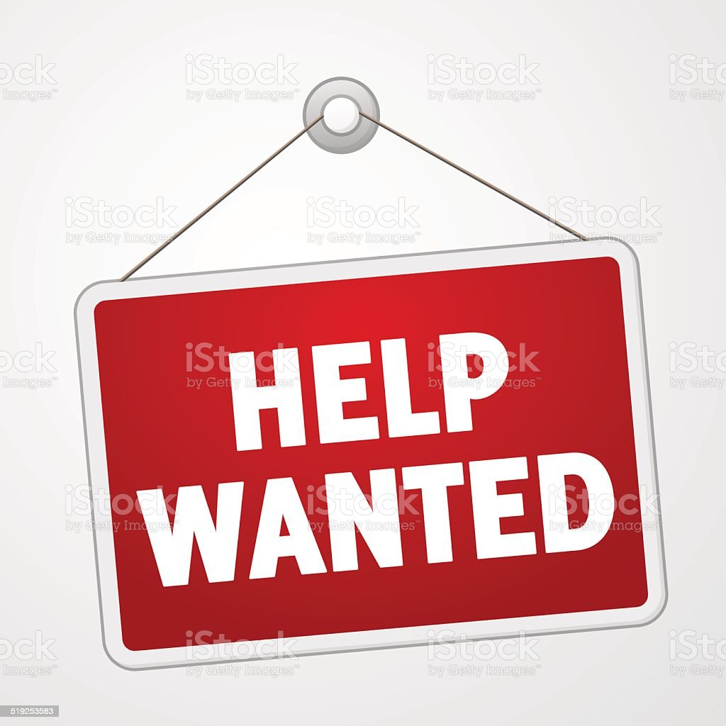 Help Wanted Sign vector art illustration