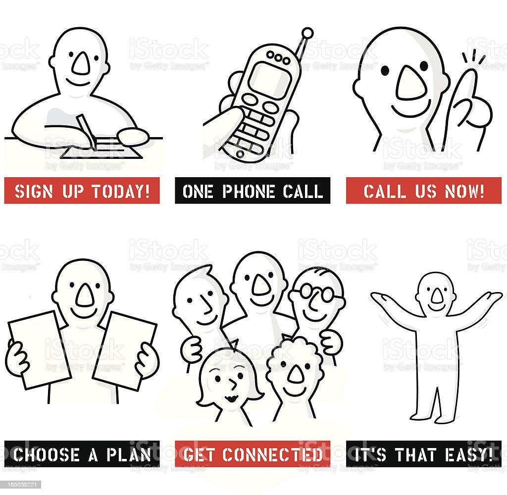 Helpful People vector art illustration