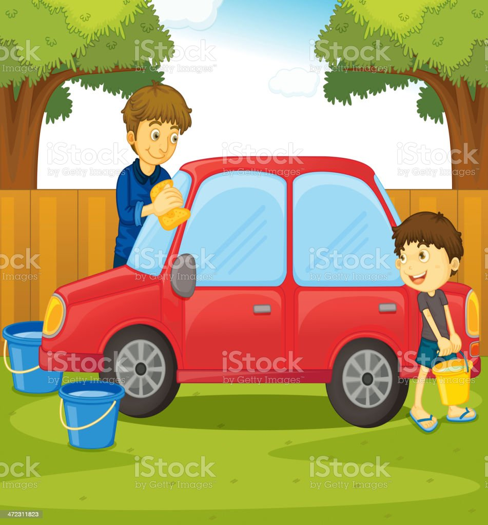 Helping at home royalty-free stock vector art