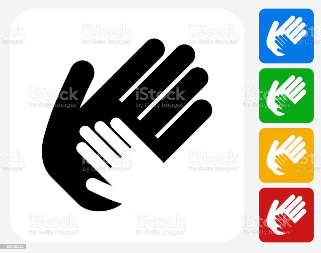 Helping Child Hand Icon Flat Graphic Design vector art illustration