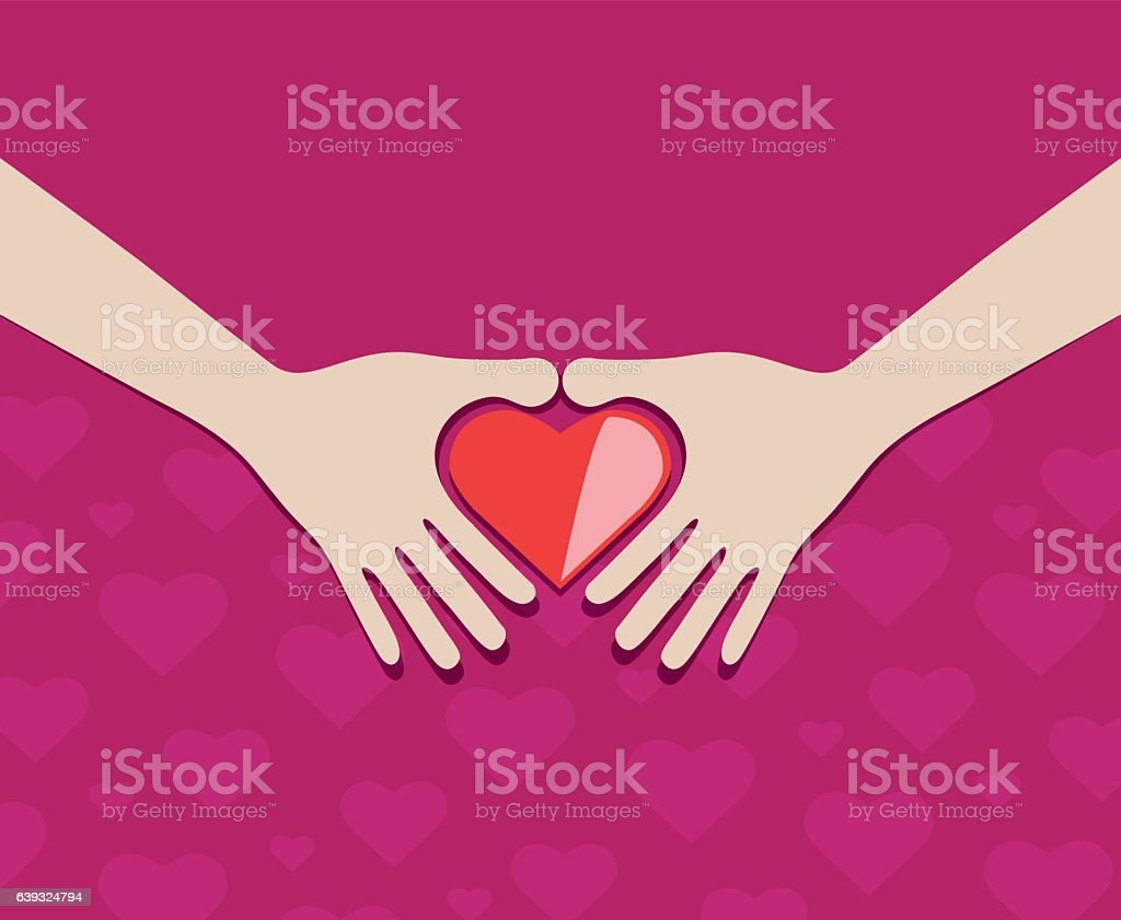 Helping hand and hearts vector art illustration