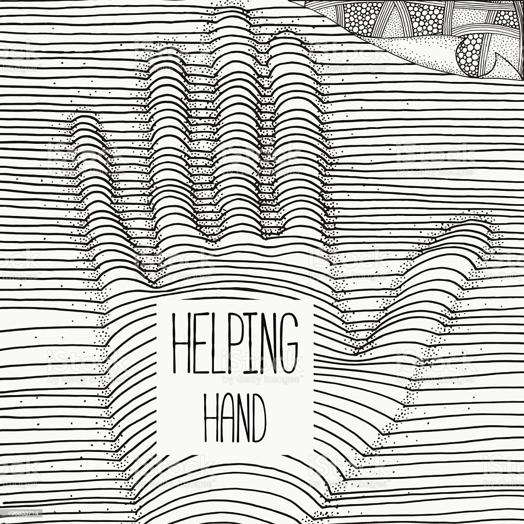 Helping hand. Artistically pattern with hand. vector art illustration