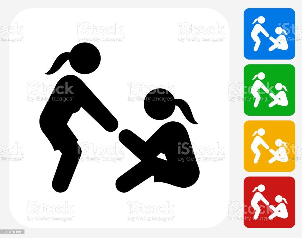 Helping Hand Icon Flat Graphic Design vector art illustration