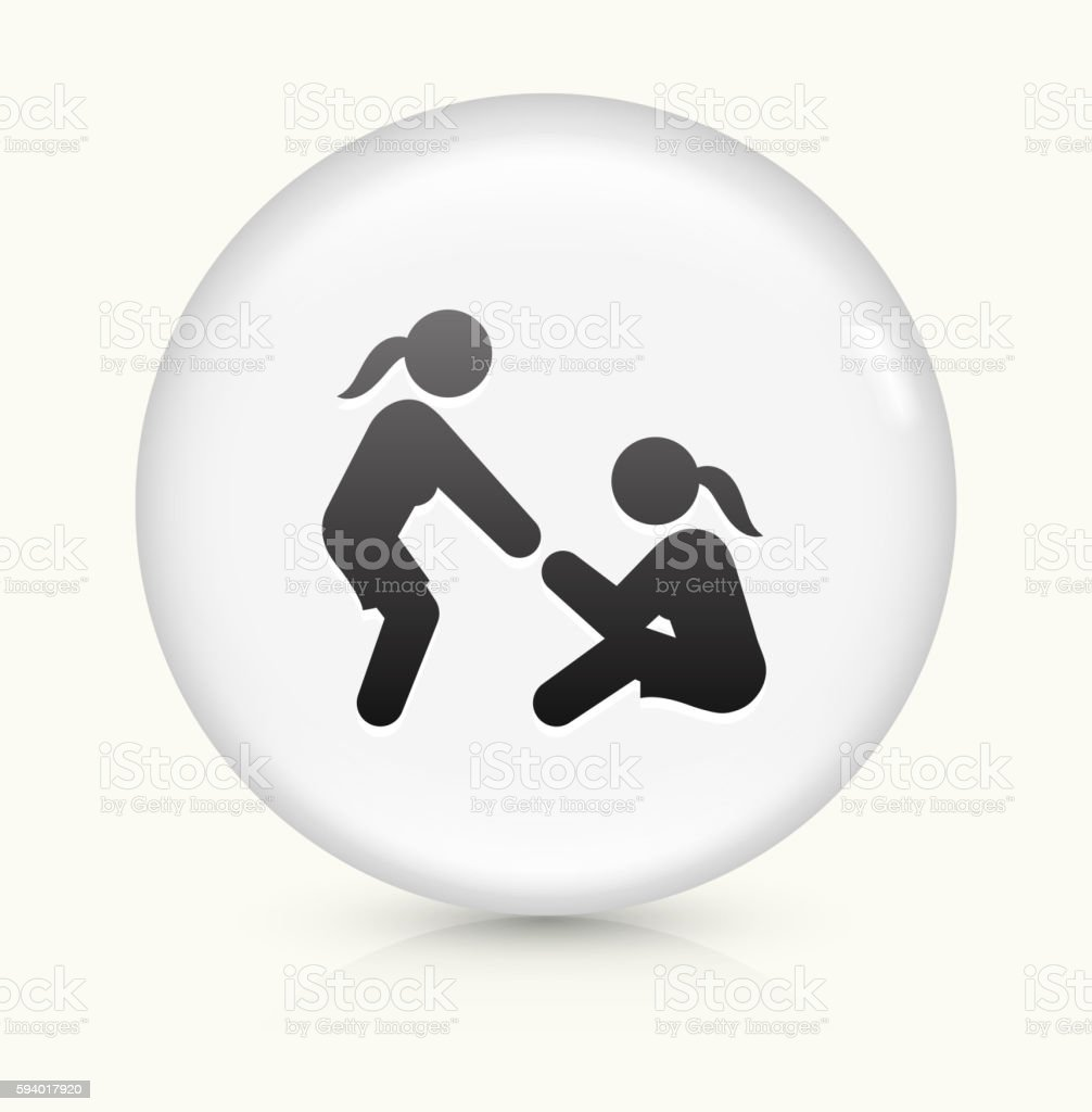Helping Hand icon on white round vector button vector art illustration