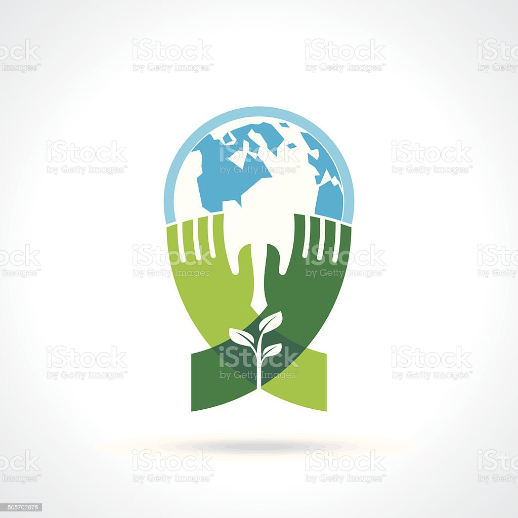 Helping hand make tree on earth - vector illustration vector art illustration
