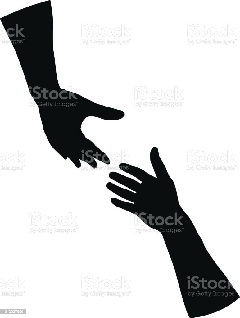 Helping hand silhouette vector art illustration