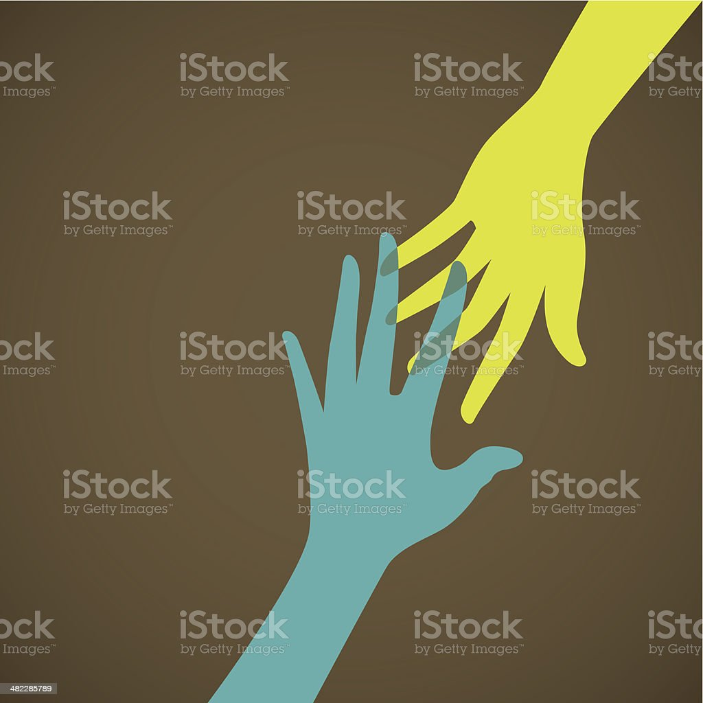 Helping hand, support, care or charity concept vector art illustration