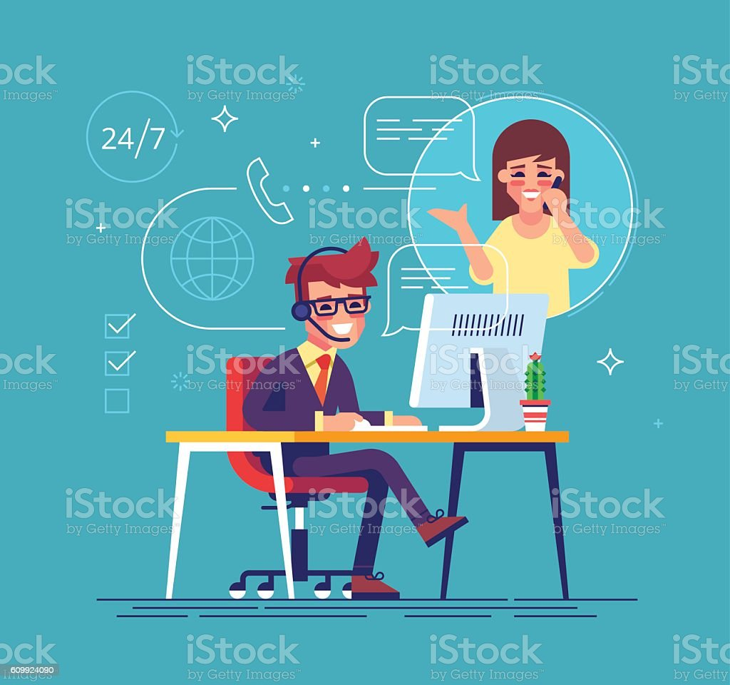 Helpline operator consulting client. Tech support. vector art illustration