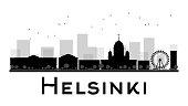 Helsinki City skyline black and white silhouette