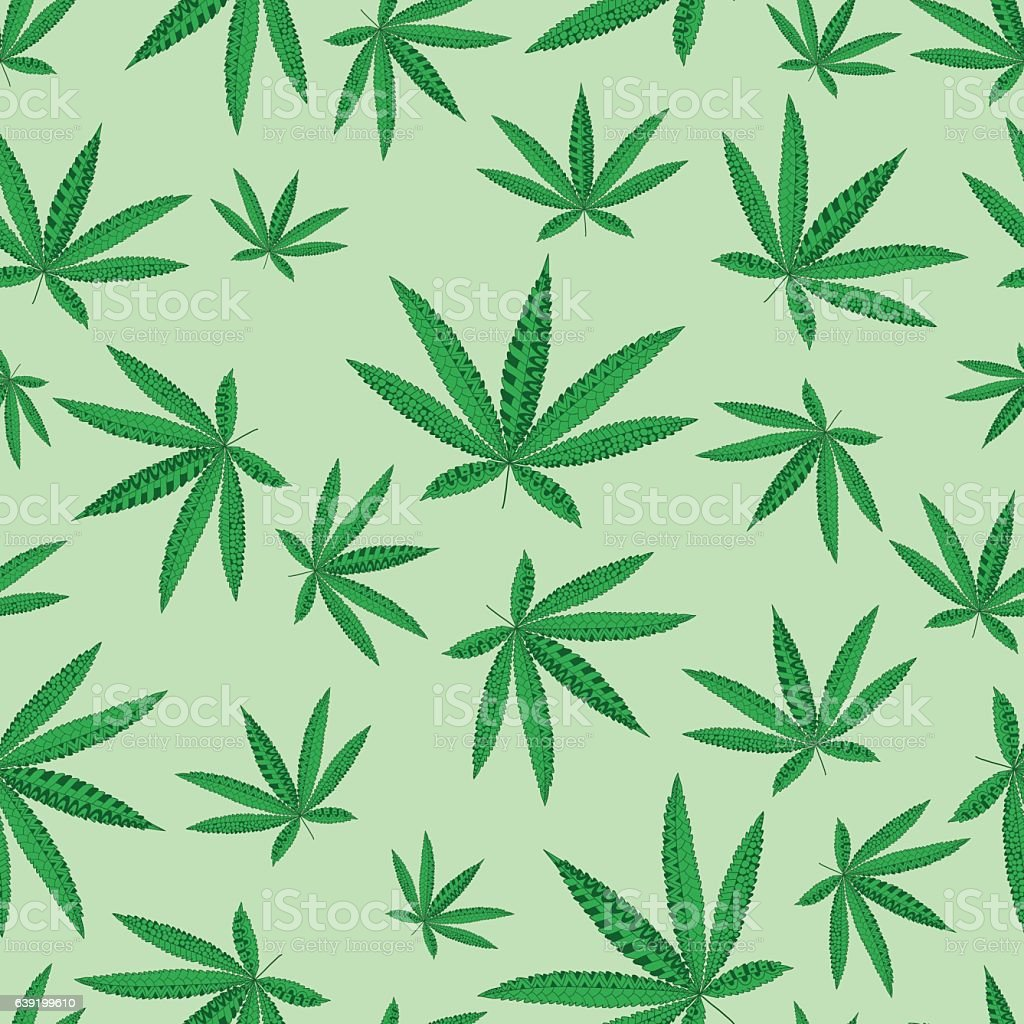 Hemp Cannabis Leaf in ornamental style. Seamless pattern. vector art illustration