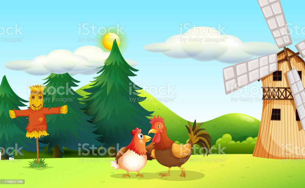 Hen and a rooster at the farm royalty-free stock vector art
