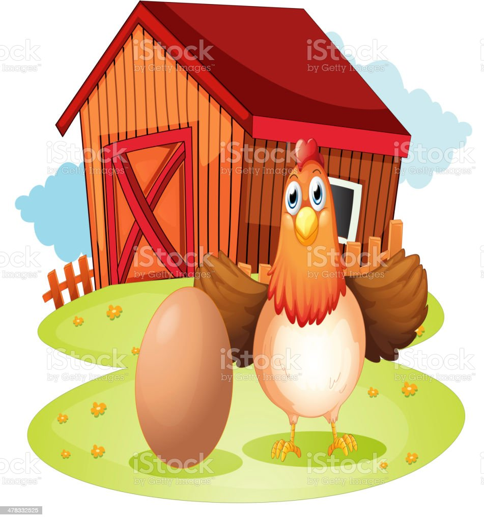 Hen and an egg at the backyard royalty-free stock vector art