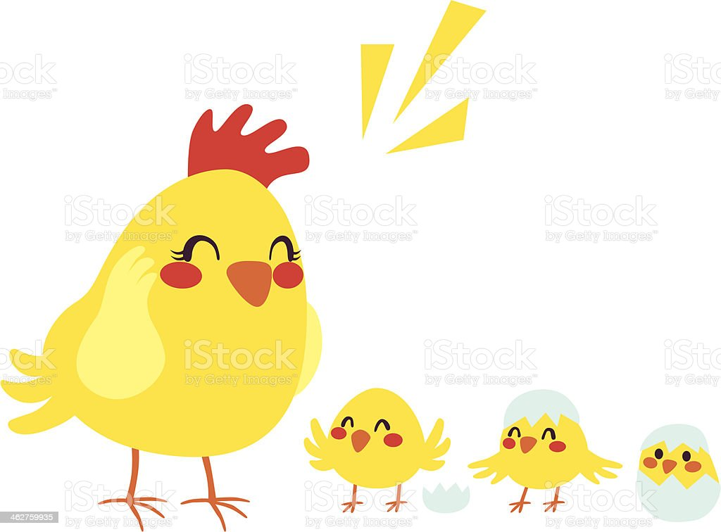 Hen And Chicks royalty-free stock vector art