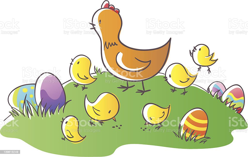 Hen and chikens royalty-free stock vector art