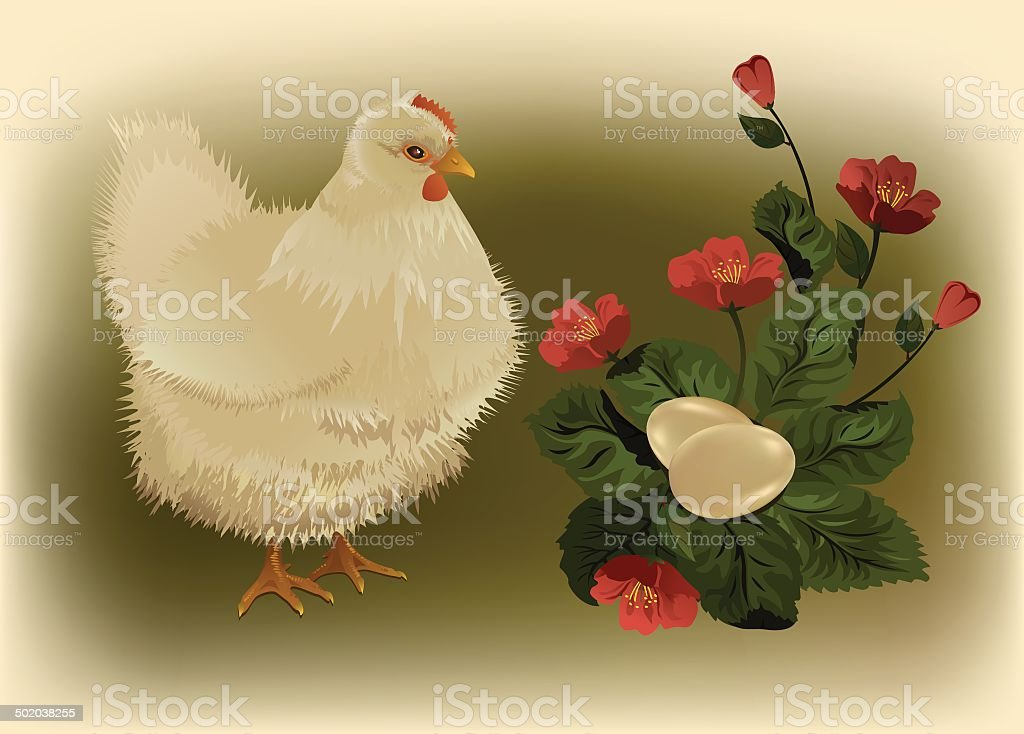 Hen and eggs royalty-free stock vector art