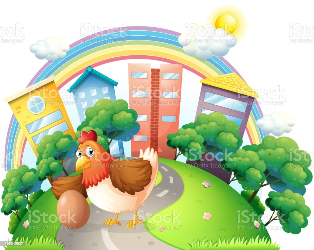 Hen and her egg at the road royalty-free stock vector art