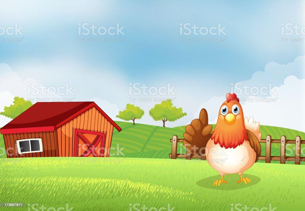 Hen at the farm royalty-free stock vector art