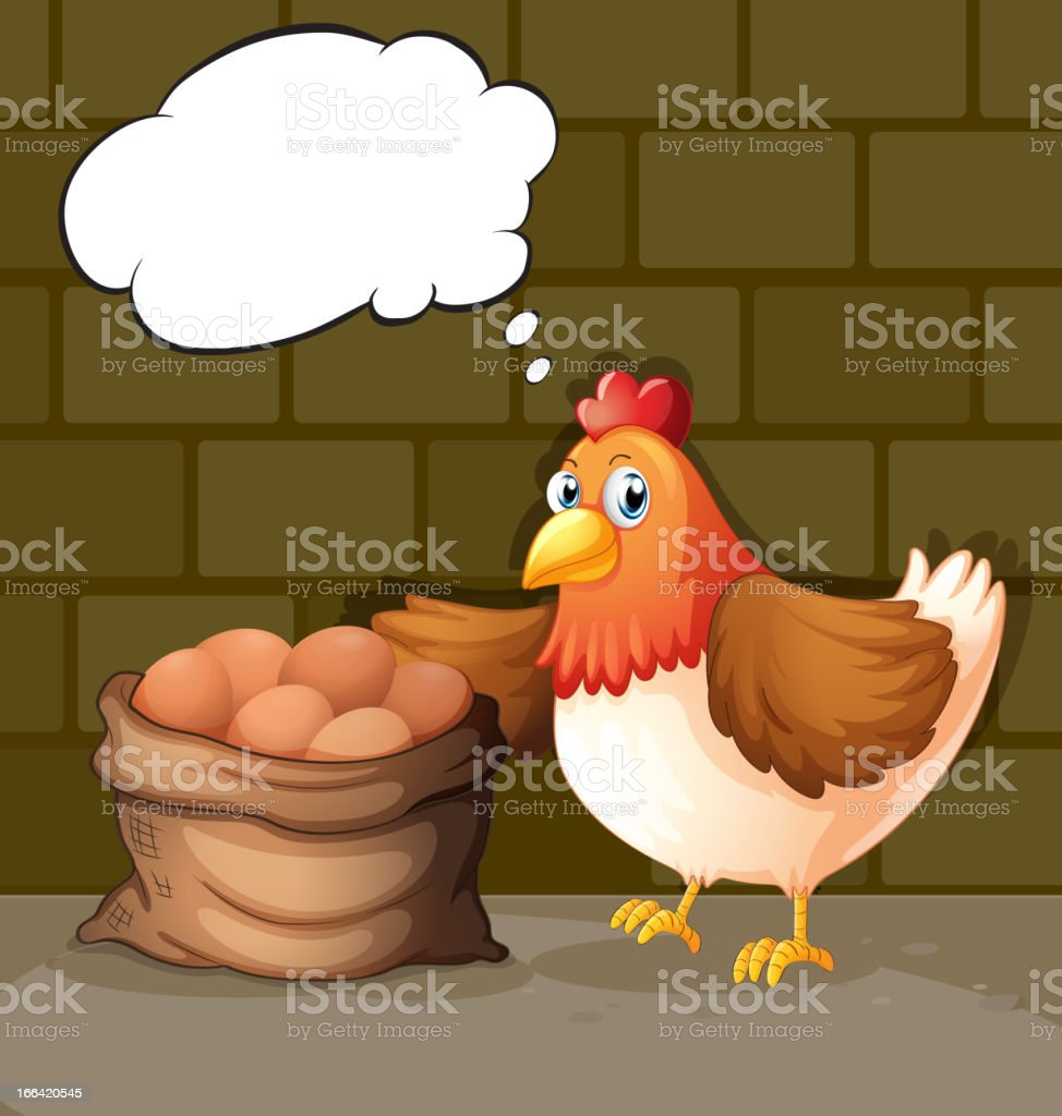 Hen beside the eggs with empty callouts royalty-free stock vector art