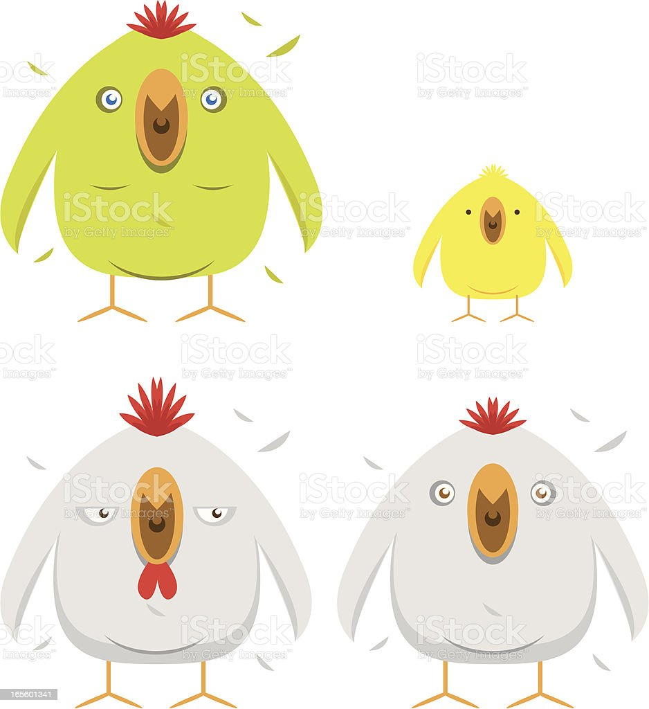Hen, cock, parrot and chick royalty-free stock vector art