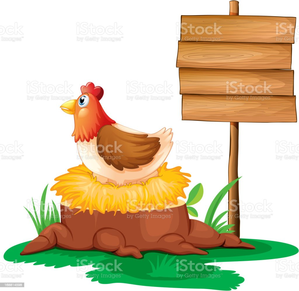 Hen near the empty wooden signboard royalty-free stock vector art