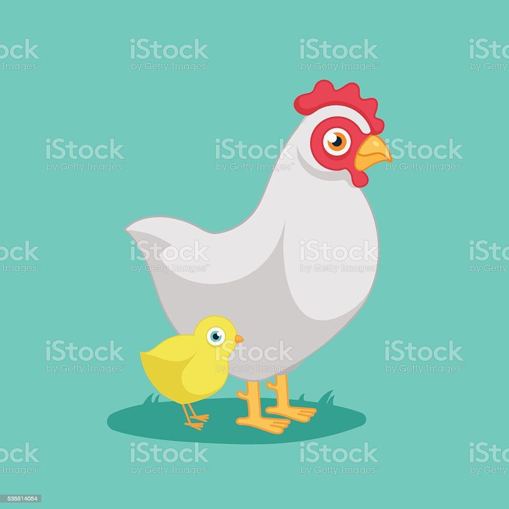 hen with chicken vector art illustration