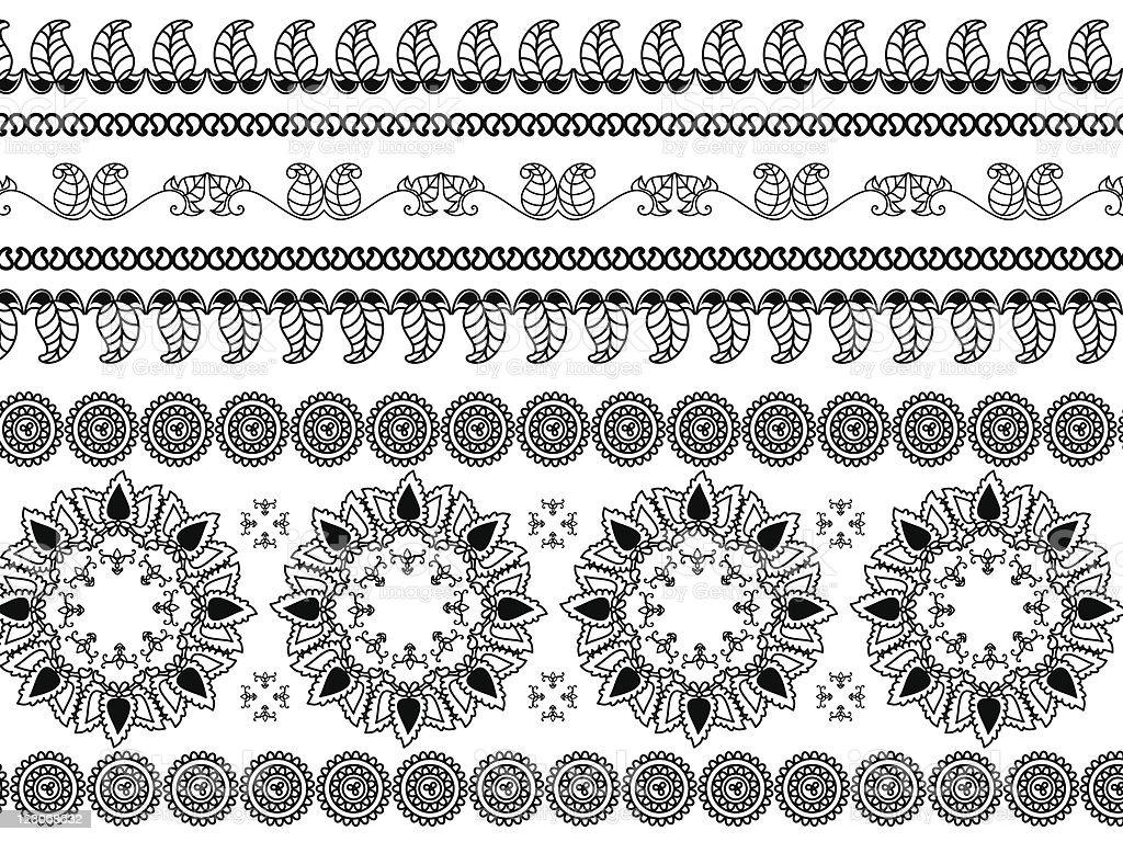 Henna borders and mandala design royalty-free stock vector art