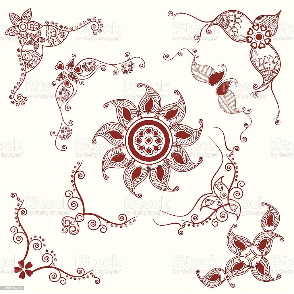 henna corner designs royalty-free stock vector art