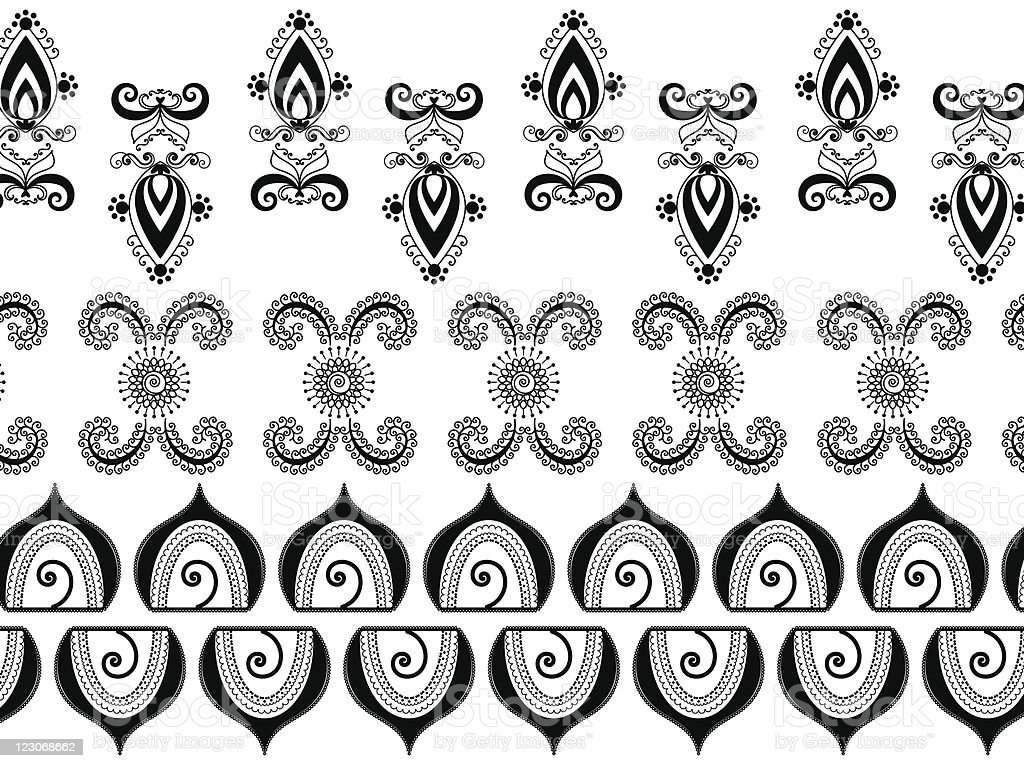 Henna designs inspired by Indian and Muslim art royalty-free stock vector art