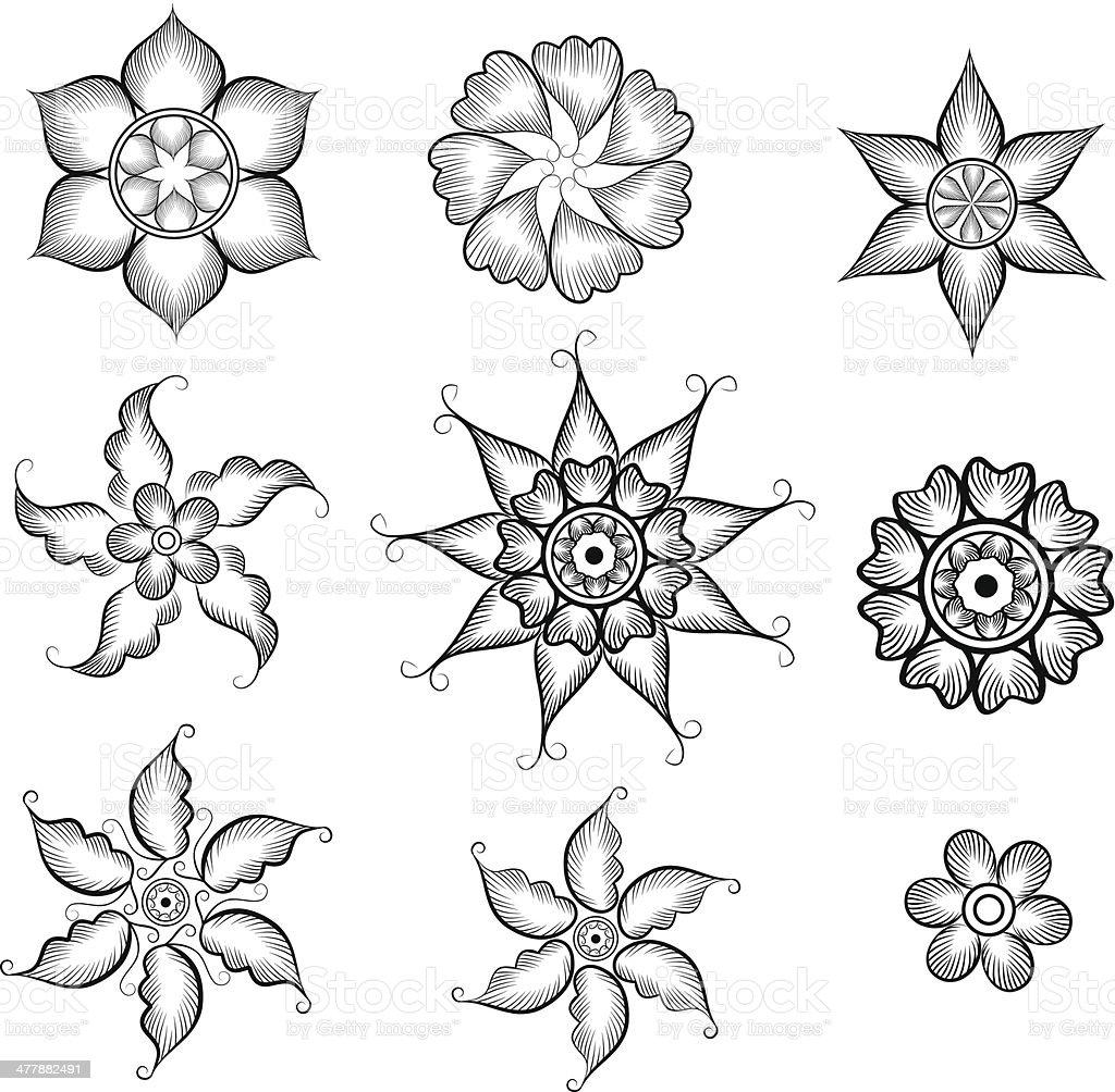 Henna Flowers royalty-free stock vector art