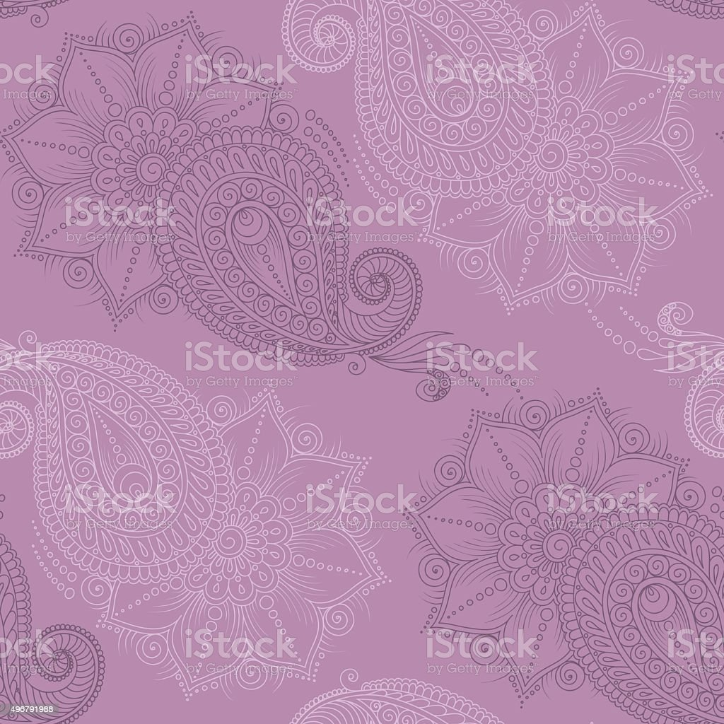 Henna Mehendi Tattoo Seamless Pattern Stock Vector Art 496791988