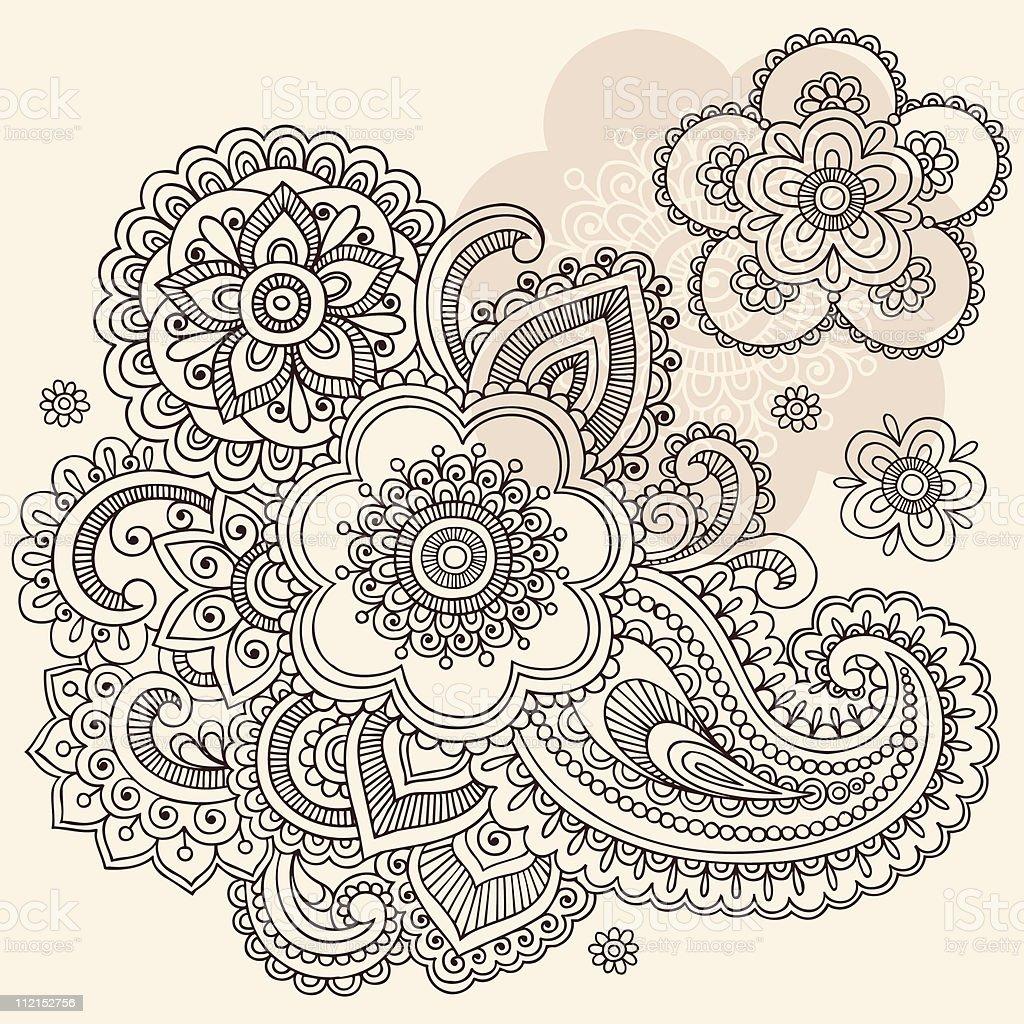 Henna Mehndi Vector Free : Henna mehndi flowers and paisley doodles stock vector art