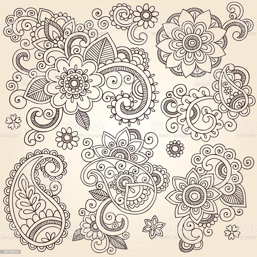 Henna Mehndi Vector Free : Henna mehndi tattoo paisley floral doodle vector elements