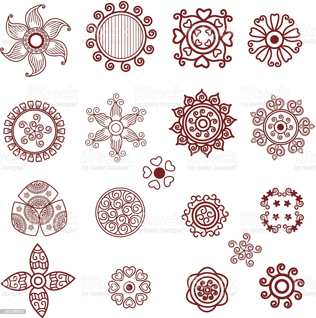 Henna Mini Flowers Stock Vector Art 452189529 Istock
