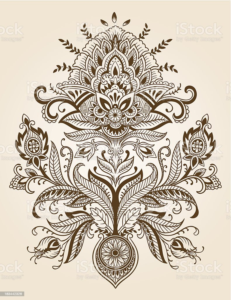 Henna Paisley Lace Flower Vector royalty-free stock vector art