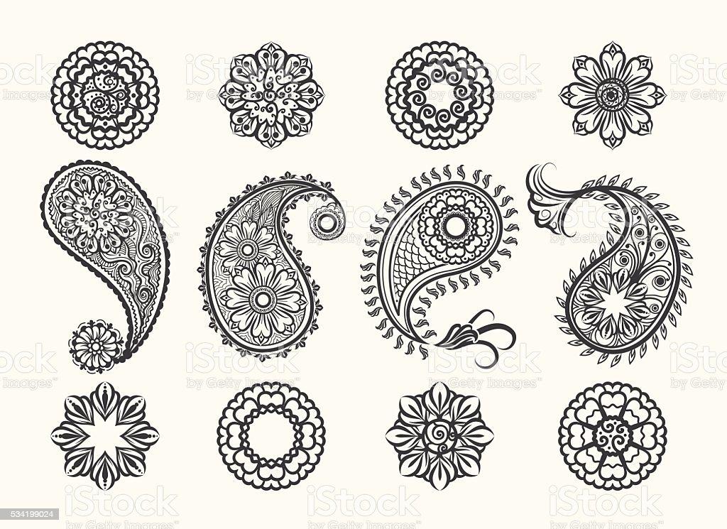 Henna tatoo paisley icons set vector art illustration