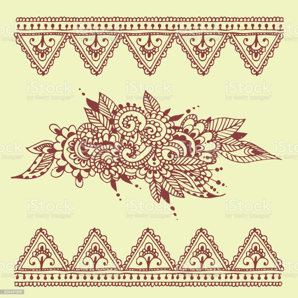 Henna tattoo brown mehndi flower doodle ornamental decorative indian design pattern paisley arabesque mhendi embellishment vector vector art illustration