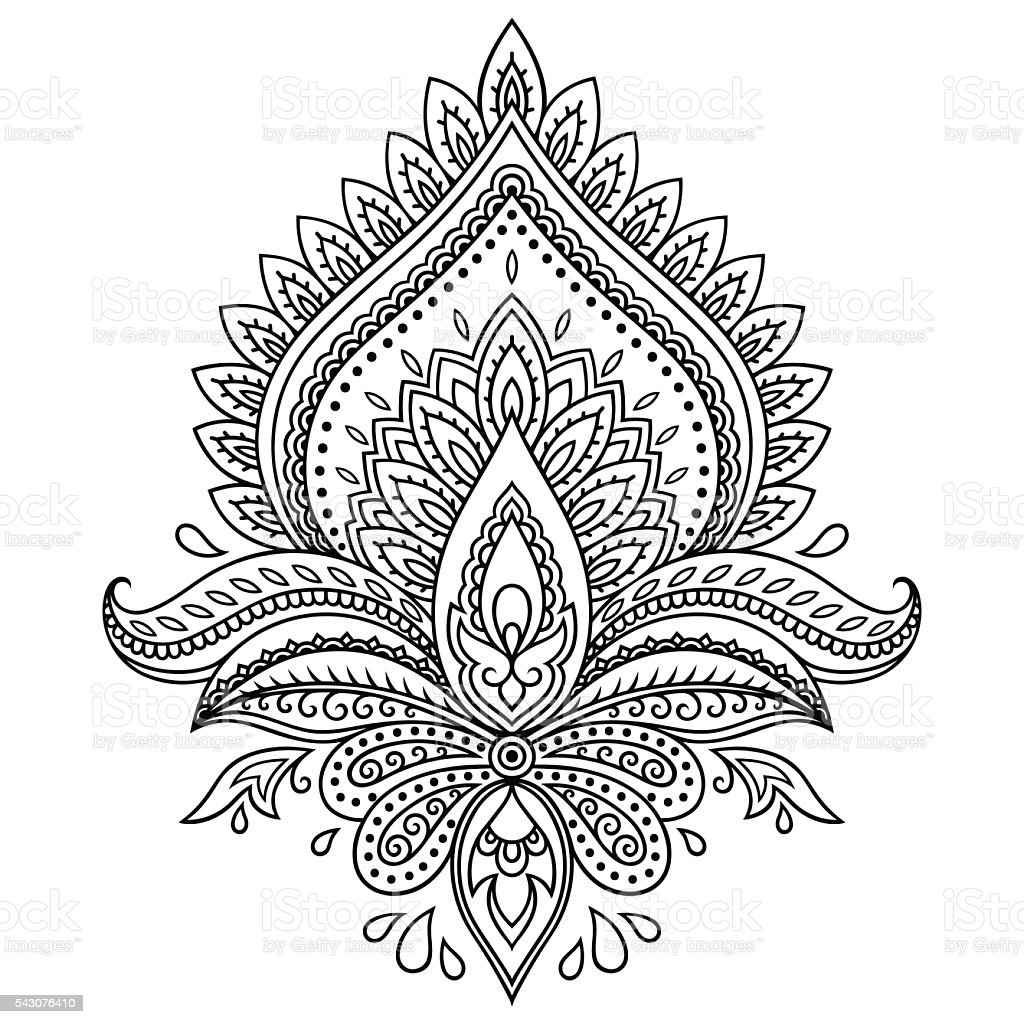 Mehndi Lotus Drawing : Henna tattoo flower template in indian style ethnic