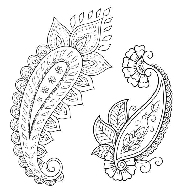 Henna Mehndi Paisley Tattoo Doodle Design Silhouettes Clip Art