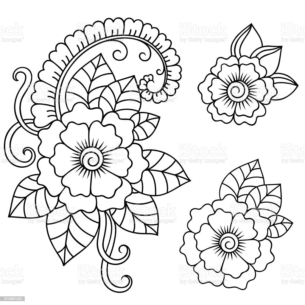 Henna Tattoo Flower Template In Indian Style