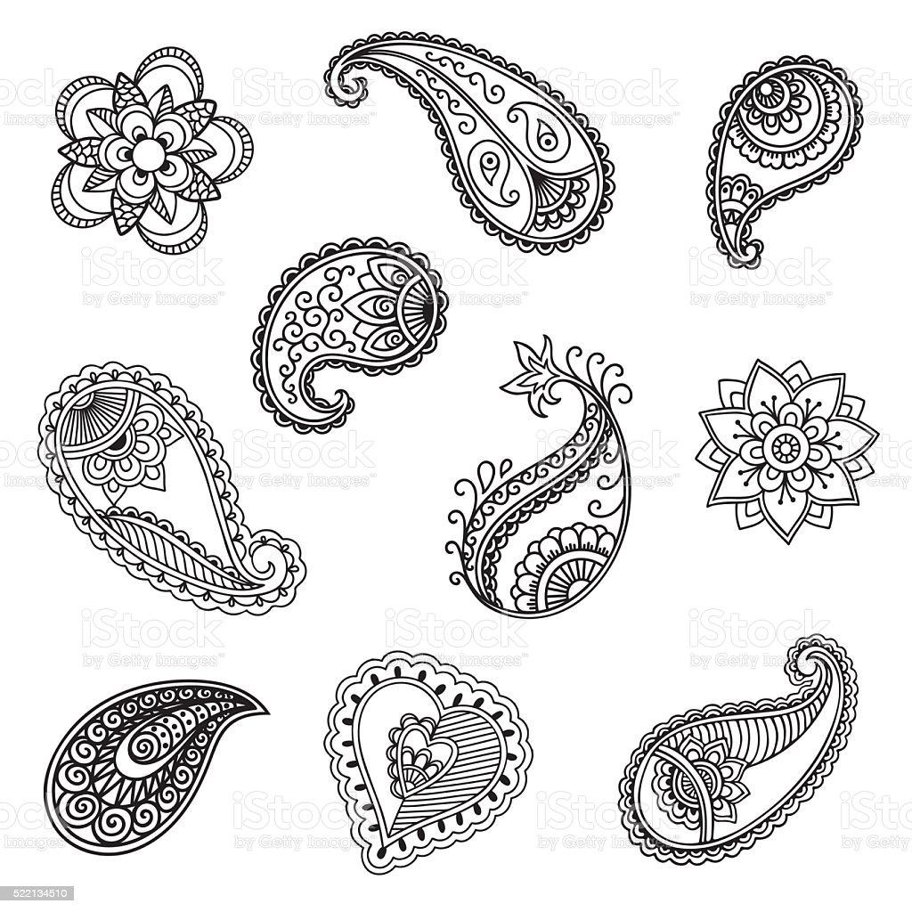Henna tattoo flower template.Mehndi. vector art illustration