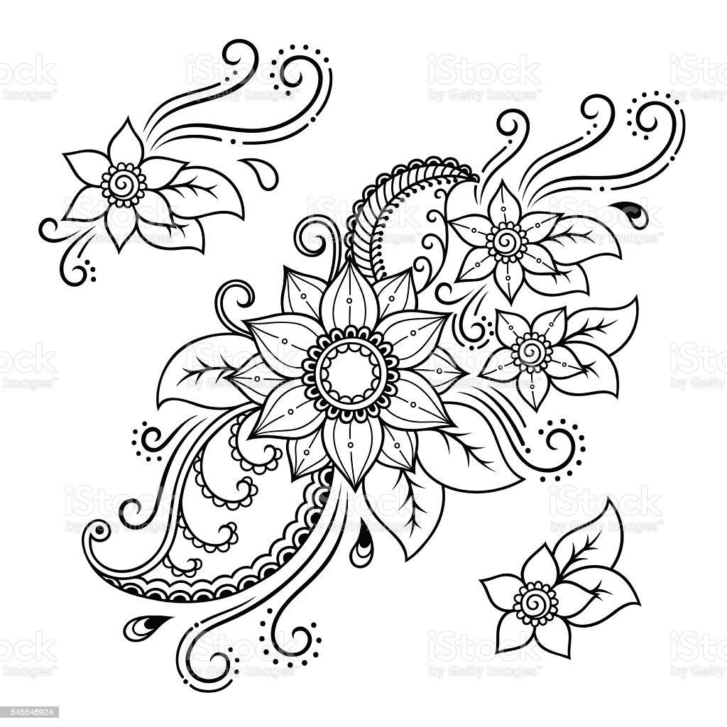 Henna Tattoo Vector: Henna Tattoo Flower Templatemehndi Stock Vector Art
