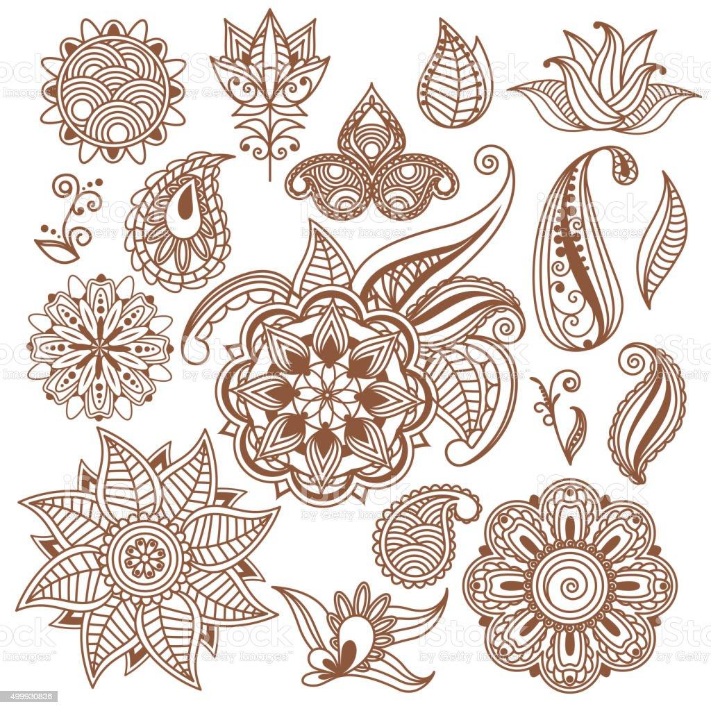 Single Flower Mehndi Designs : Henna tattoo mehndi abstract floral vector elements in