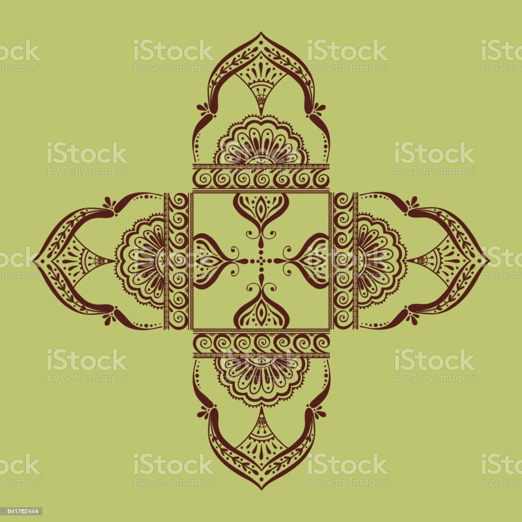 Henna tattoo mehndi flower template vector illustration vector art illustration