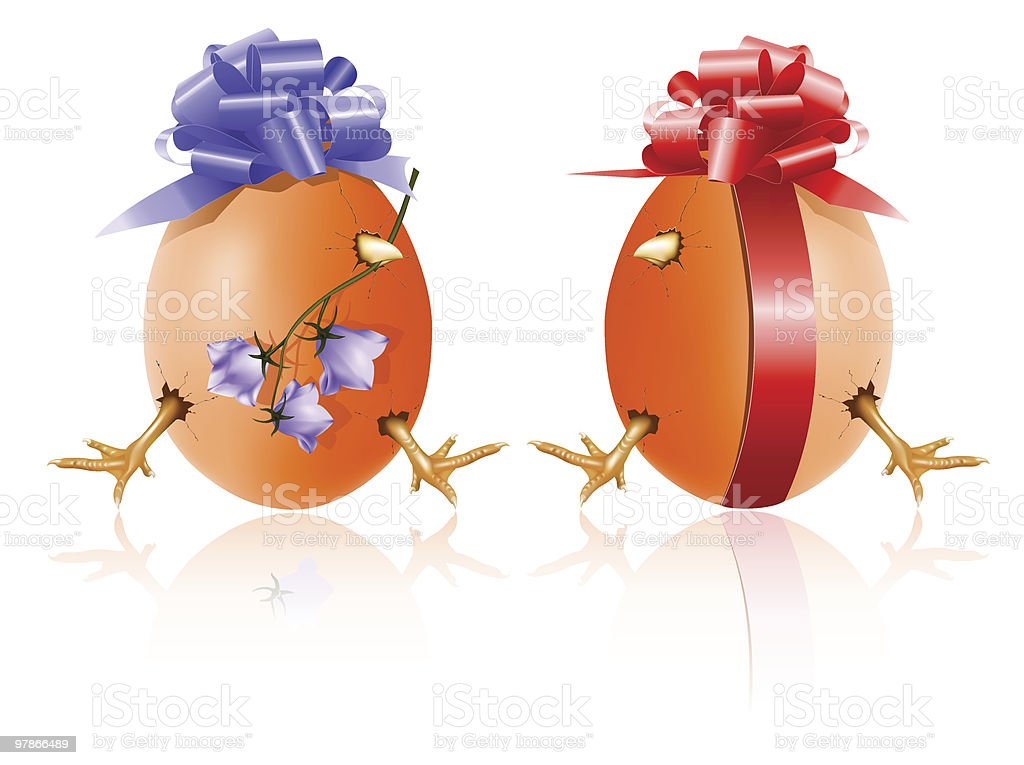 Hen's egg with chicken inside, red gift bow and bluebell. royalty-free stock vector art