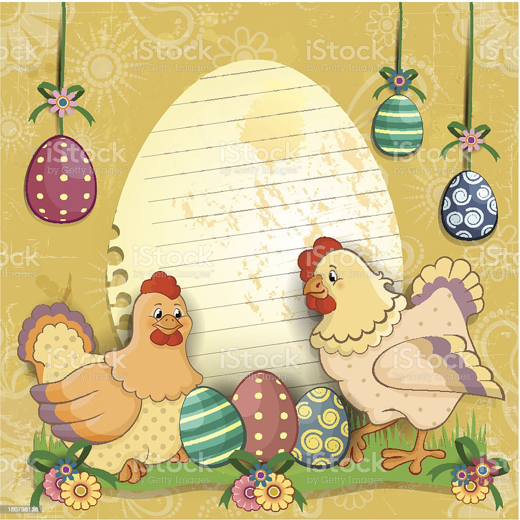 Hens with eggs and flowers royalty-free stock vector art