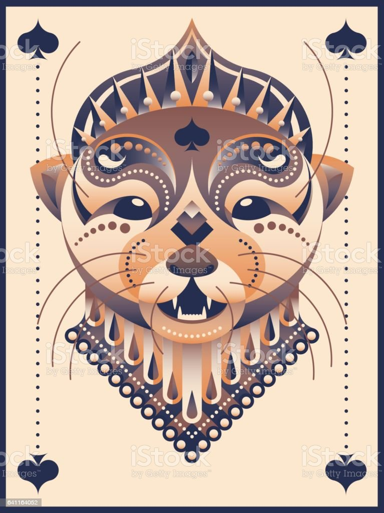 Her majesty the Otter Queen of Spades vector art illustration
